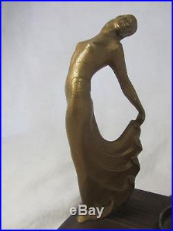 1920's 30's Art Deco Lamp Partial Nude Ribbed Glass Globe Gold Paint Patina