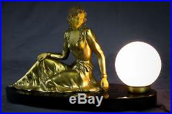 1930's FRENCH ART DECO LAMP WITH LADY SCULPTURE BY LIMOUSIN