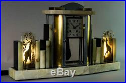1930's FRENCH ART DECO MANTEL CLOCK WITH LAMPS