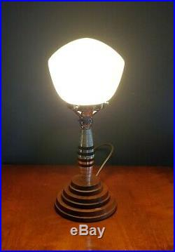 1930s Art Deco Machine Age Table Lamp. Globe Shade. Machined Alloy Lucite & Wood