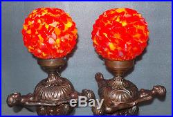 2 Art Deco Nude Lady Lamps End of Day Shades Copper Clad