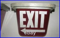 2 Complete KOPP EXIT LIGHT Glass Globe Ruby Red Sign Theater Cinema Art Deco