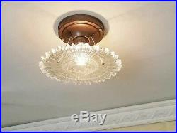 436z Vintage arT Deco Ceiling Light Lamp Fixture Glass Re-Wired 1 of 3