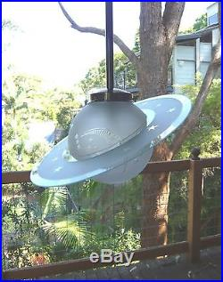 ANTIQUE FRENCH ART DECO CHROME PENDANT LIGHT LAMP SATURN SHADE with SATURN RINGS