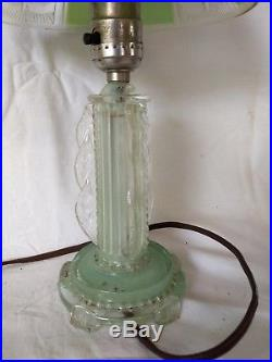 ART DECO GLASS FROSTED LAMPS WithGREEN BASE TOWER TIE BACK TABLE LIGHTS PAIR