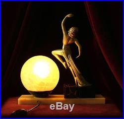 A Rare Original signed French Art Deco'Erotic Moon Dancer' Lamp on Marble c1930