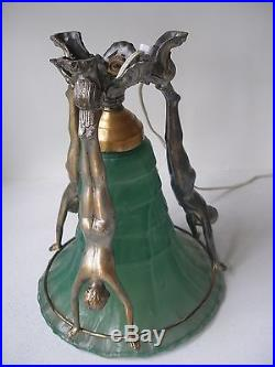 American Art Deco Lamp With Female Figures