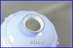 Antique Art Deco Blue Opaline Milk Glass French Coolie Lamp Shade 1930s