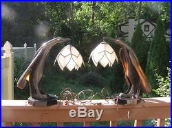 Antique Art and Craft Art Deco Rare Electric Hand Made Horn Table Lamp 15.5'