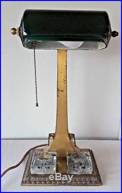 Antique BANKER'S LAMP with EMERALD Green SHADE Double Inkwells Pen Holder ART DECO
