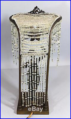 Antique Bronze Art Deco Nude Flapper Woman & Glass Crystal Beaded Lamp