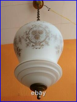 Antique French Art Deco Frosted Glass and Brass Hallway Pendant Lamp