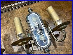 Antique PAIR Art Deco Mirrored WALL SCONCES LAMPS Vintage Electric Lights