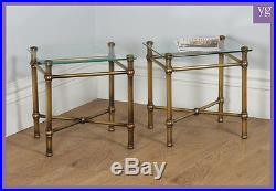 Antique Pair Art Deco Style Brass Glass Occasional Lamp Coffee Side Sofa Tables