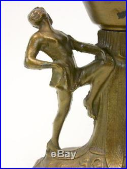 Antique/Vintage Art Deco Figural Nude Women Dancing Accent Table Lamp Ball Shade