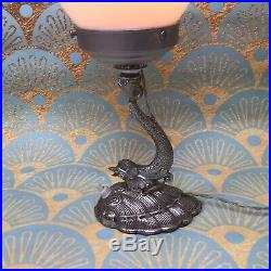 Art Deco 1930s Chrome Dolphin Lamp With Stepped Milk Glass Shade