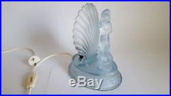 Art Deco Blue Frosted Glass Arabella Lamp by Walther and Sohne c. 1935