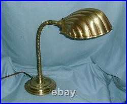 Art Deco Brass Gooseneck Desk / Table Lamp With Clam Shell Shade