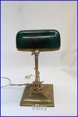 Art Deco Emeralite Squared Base Industrial Emerald Green Shade 1916 Table Lamp