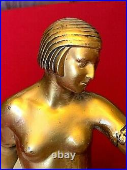 Art Deco Figural Nude Lady Bronze Lamp with alabaster Globe