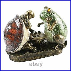 Art Deco Frog & Tortoise Table / Side Lamp Tiffany Crackle Glass. New