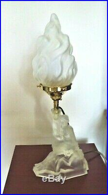 Art Deco Frosted Glass Table Lamp, Semi-naked Lady Base, New Wiring & Fittings