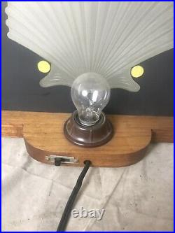 Art Deco Glass Etched Sea Shell Accent Lamp