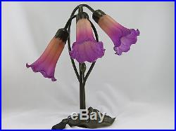 Art Deco Lily 3l Table Lamp In Antique Brass Finish + Purple Pink Glass Shades