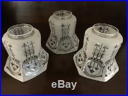 Art Deco Lot of 3 Acid Etched Arrow Pattern 5 tall Shades Hanging Lamp