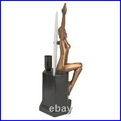 Art Deco Nude Woman With Doves Illuminated 14 Sculpture Lamp Amedeo Gennarell
