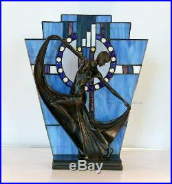Art Deco Stained Glass Lamp, Table Lamp, Blue Stained Glass