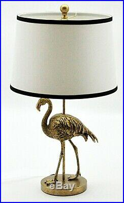 Art Deco Style Gold Flamingo Table Lamp With Black & White Shade 68cm