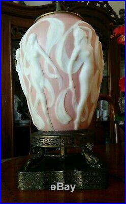 Art Deco Table Lamp Phoenix Consolidated Art Glass Dancing Nudes Nymphs c. 1930