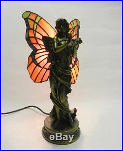 Art Deco Vintage Tiffany Style Stained Glass Fairy Lady Figurine Lamp Bronze