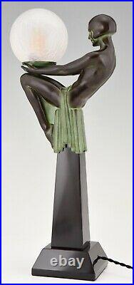 Art Deco style lamp Enigme seated nude with globe Max Le Verrier Foundry mark