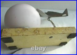 Art Deco table lamp, Aluminum airplane and tulip ball on marble terrace
