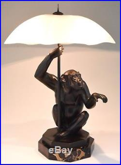 Art Deco table lamp seated monkey with umbrella Max Le Verrier France 1930