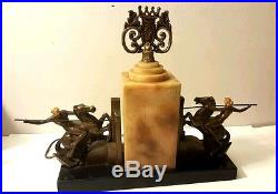 Beautiful Art Deco Lamp With 2 Woman Warriors On Each Side Of Alabaster Column