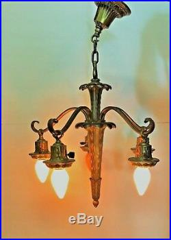 Brass 5 Arm Art Deco Chandelier Works Separate Switches Light Fixture Lamp Atq