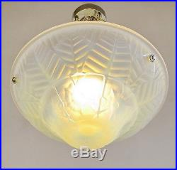 CHARLES RANC FRENCH 1930 ART DECO CHANDELIER opalescent suspension lamp lampe