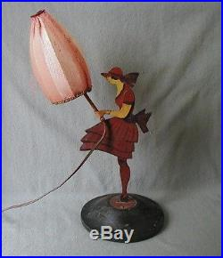 Fabulous & Rare French Art Deco Paint Decorated Girl Lamp With Umbrella Shade