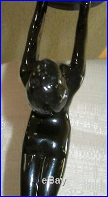 Frankart art deco standing lamp body with up stretched arms black not wired USA