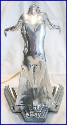 Frankart butterfly nymph art deco table lamp 1 tone polished aluminum/glass USA