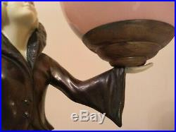French Art Deco Lady Mood Lamp With Shade
