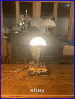 Genuine Art Deco Odeon Style Table Lamp On Marble Base, Circa 1920