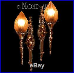 Gorgeous Impressive FRENCH Pair 1930s ART DECO Torch Flame BRONZE WALL SCONCES