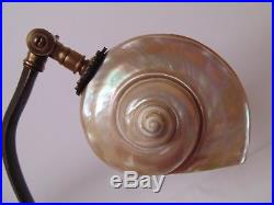 Great Vintage Art Deco Nautilus Shell Desk Lamp Marked Germany