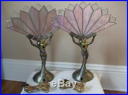 Lamps Nude Art Deco Bedside Table Lamps Pair
