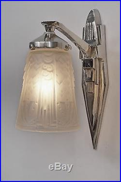 MULLER FRERES & PETITOT PAIR FRENCH ART DECO WALL SCONCES appliques 1930 lamp