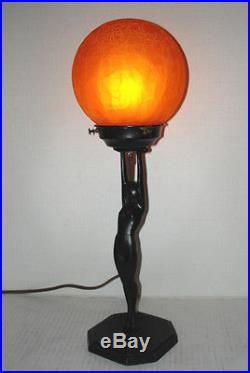 Nice Original Signed and Working L210 FRANKART Nude Lady Art Deco Lamp